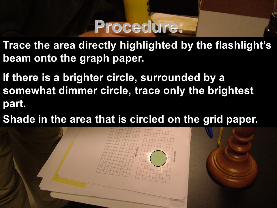 Procedure: Part 1 Part 1 Using a protractor, hold the flashlight over the 90 degree grid paper so it is at a distance of 20 cm. Using a protractor, ho