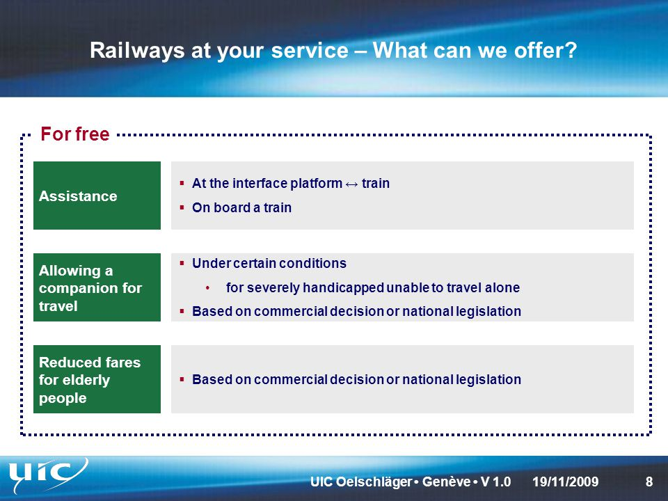 UIC Oelschläger Genève V 1.0819/11/2009 Railways at your service – What can we offer.