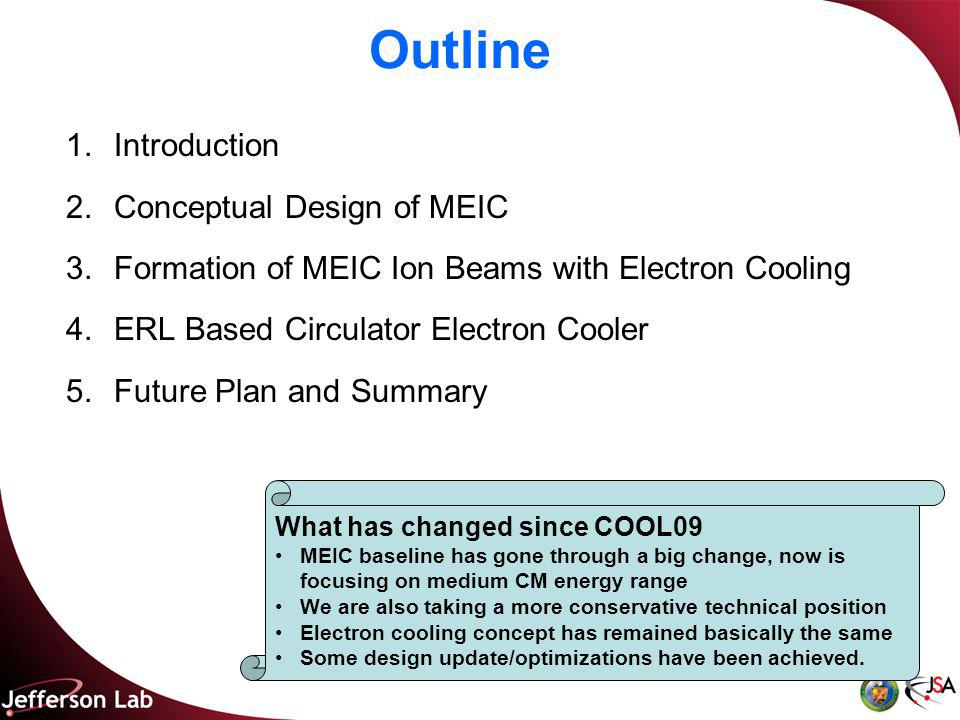 Outline 1.Introduction 2.Conceptual Design of MEIC 3.Formation of MEIC Ion Beams with Electron Cooling 4.ERL Based Circulator Electron Cooler 5.Future Plan and Summary What has changed since COOL09 MEIC baseline has gone through a big change, now is focusing on medium CM energy range We are also taking a more conservative technical position Electron cooling concept has remained basically the same Some design update/optimizations have been achieved.