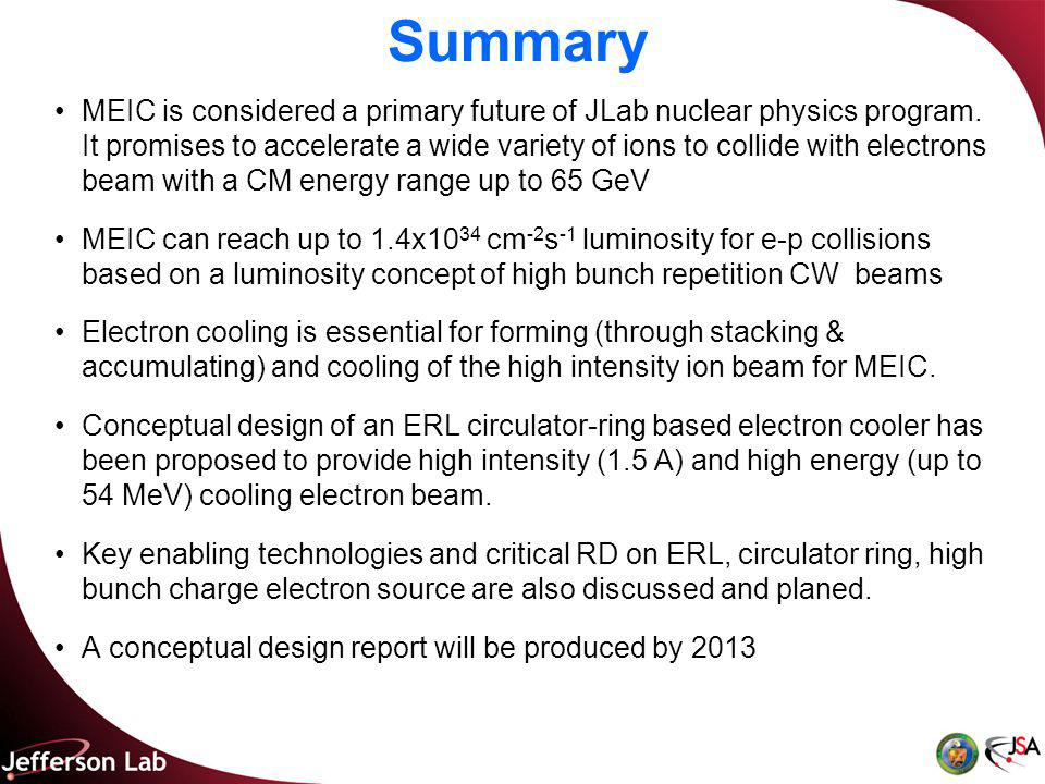 Summary MEIC is considered a primary future of JLab nuclear physics program.
