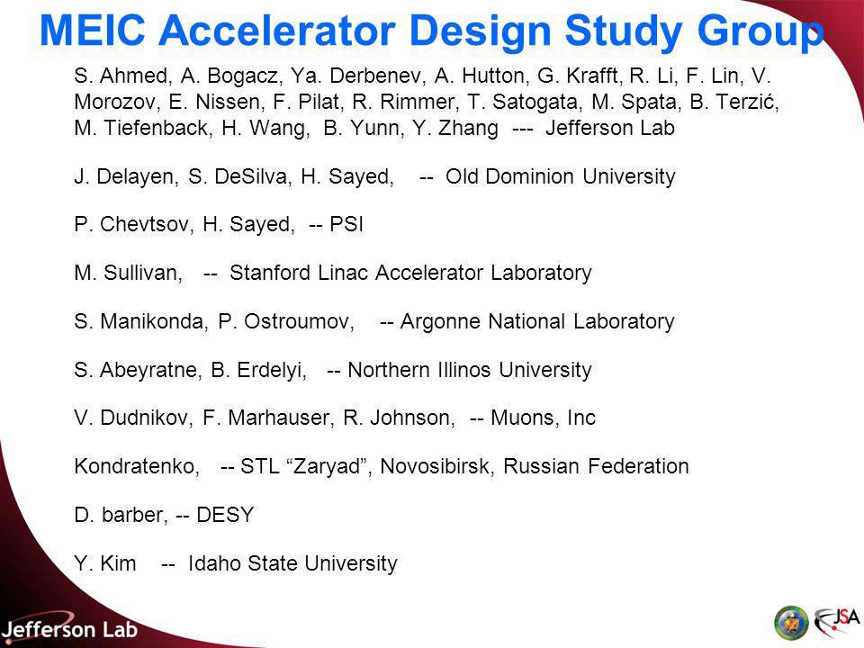 MEIC Accelerator Design Study Group S. Ahmed, A. Bogacz, Ya.