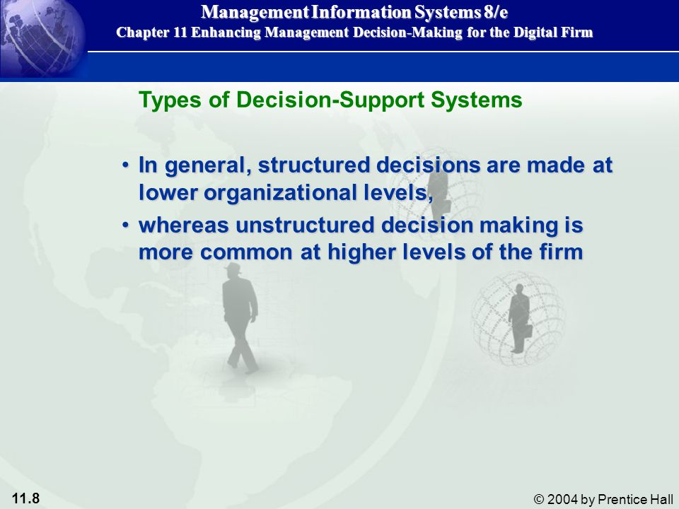 11.59 © 2004 by Prentice Hall Management Information Systems 8/e Chapter 11 Enhancing Management Decision-Making for the Digital Firm Structured decisions require the decision maker to use judgment to analyze the problem.Structured decisions require the decision maker to use judgment to analyze the problem.