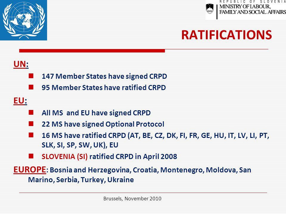 RATIFICATIONS UN: 147 Member States have signed CRPD 95 Member States have ratified CRPD EU: All MS and EU have signed CRPD 22 MS have signed Optional Protocol 16 MS have ratified CRPD (AT, BE, CZ, DK, FI, FR, GE, HU, IT, LV, LI, PT, SLK, SI, SP, SW, UK), EU SLOVENIA (SI) ratified CRPD in April 2008 EUROPE : Bosnia and Herzegovina, Croatia, Montenegro, Moldova, San Marino, Serbia, Turkey, Ukraine Brussels, November 2010