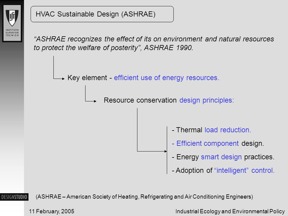 Industrial Ecology and Environmental Policy11 February, 2005 ASHRAE recognizes the effect of its on environment and natural resources to protect the welfare of posterity , ASHRAE 1990.