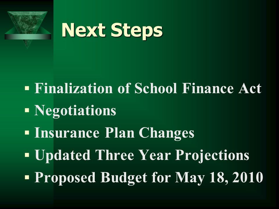 Next Steps  Finalization of School Finance Act  Negotiations  Insurance Plan Changes  Updated Three Year Projections  Proposed Budget for May 18, 2010