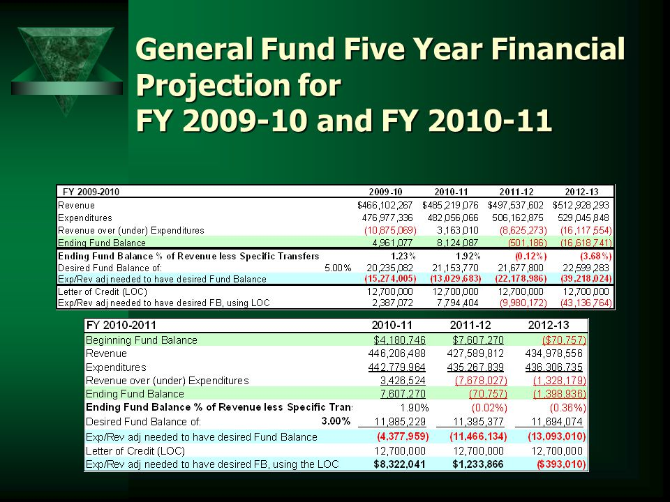 General Fund Five Year Financial Projection for FY 2009-10 and FY 2010-11 FY 2009-2010