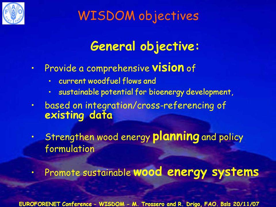 EUROFORENET Conference - WISDOM - M. Trossero and R. Drigo, FAO. Bsls 20/11/07 General objective: Provide a comprehensive vision of current woodfuel f