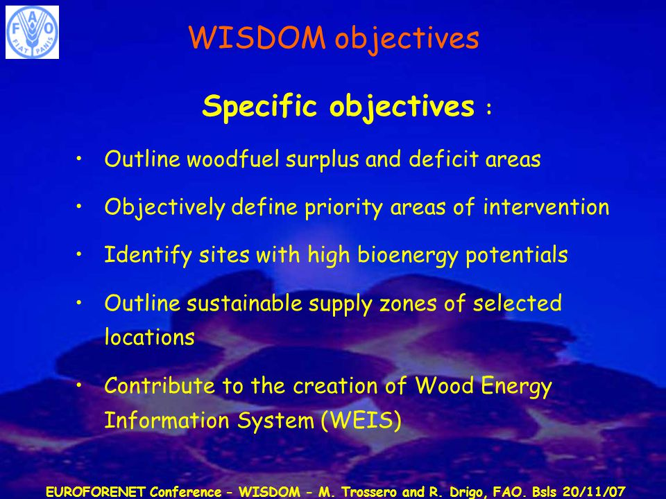 EUROFORENET Conference - WISDOM - M. Trossero and R. Drigo, FAO. Bsls 20/11/07 Specific objectives : Outline woodfuel surplus and deficit areas Object