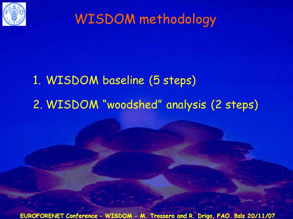 "EUROFORENET Conference - WISDOM - M. Trossero and R. Drigo, FAO. Bsls 20/11/07 WISDOM methodology 1.WISDOM baseline (5 steps) 2.WISDOM ""woodshed"" anal"