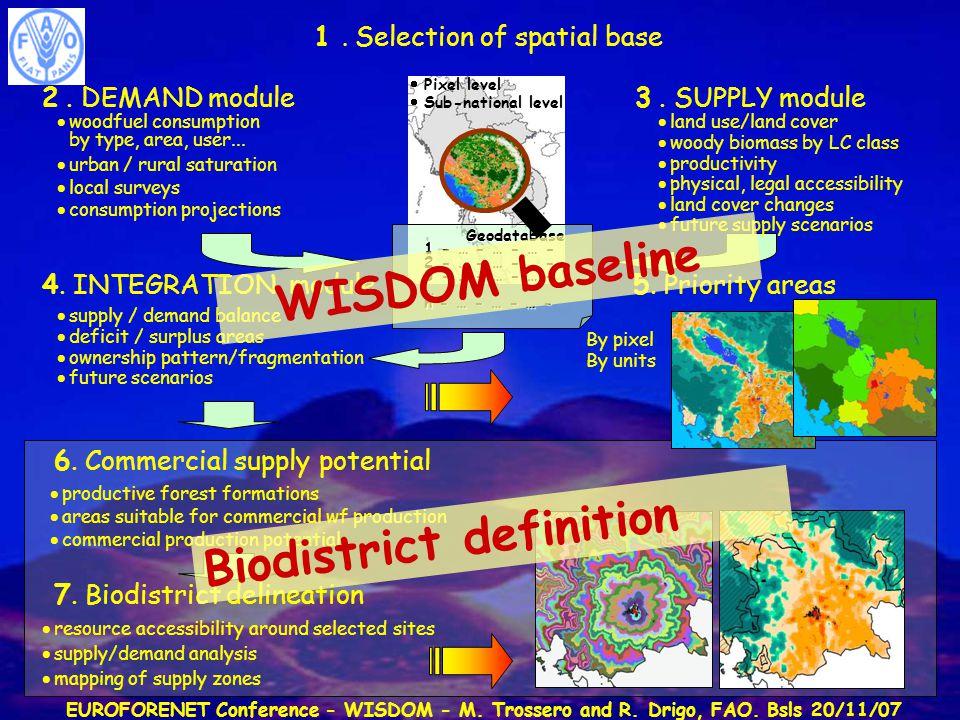 EUROFORENET Conference - WISDOM - M. Trossero and R. Drigo, FAO. Bsls 20/11/07 3. SUPPLY module2. DEMAND module 1. Selection of spatial base  Pixel l