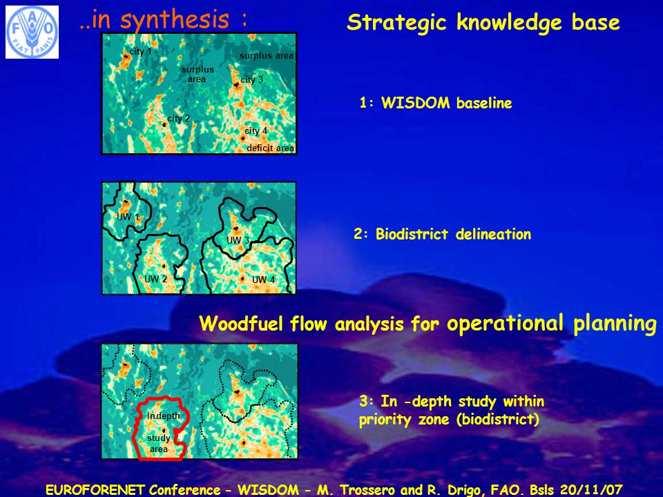 EUROFORENET Conference - WISDOM - M. Trossero and R. Drigo, FAO. Bsls 20/11/07 Strategic knowledge base 1: WISDOM baseline 2: Biodistrict delineation