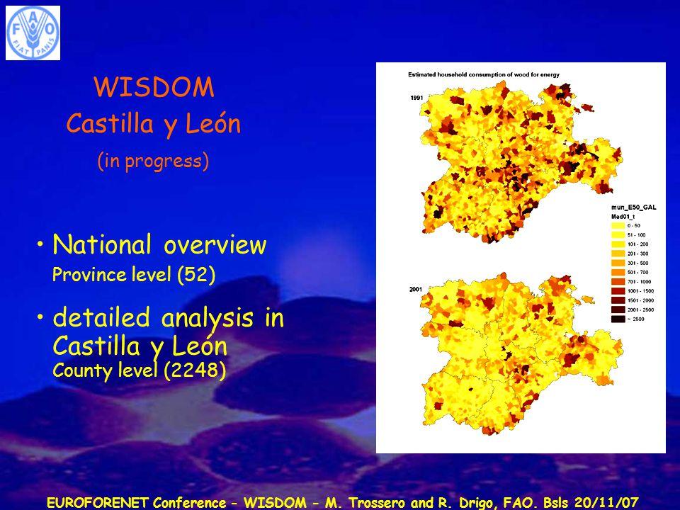 EUROFORENET Conference - WISDOM - M. Trossero and R. Drigo, FAO. Bsls 20/11/07 WISDOM Castilla y León (in progress) National overview Province level (