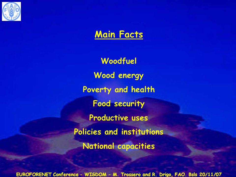 EUROFORENET Conference - WISDOM - M. Trossero and R. Drigo, FAO. Bsls 20/11/07 Main Facts Woodfuel Wood energy Poverty and health Food security Produc