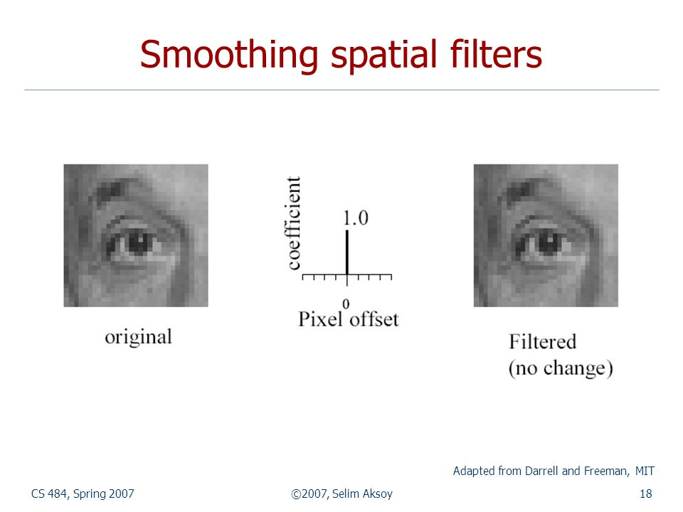 CS 484, Spring 2007©2007, Selim Aksoy18 Smoothing spatial filters Adapted from Darrell and Freeman, MIT