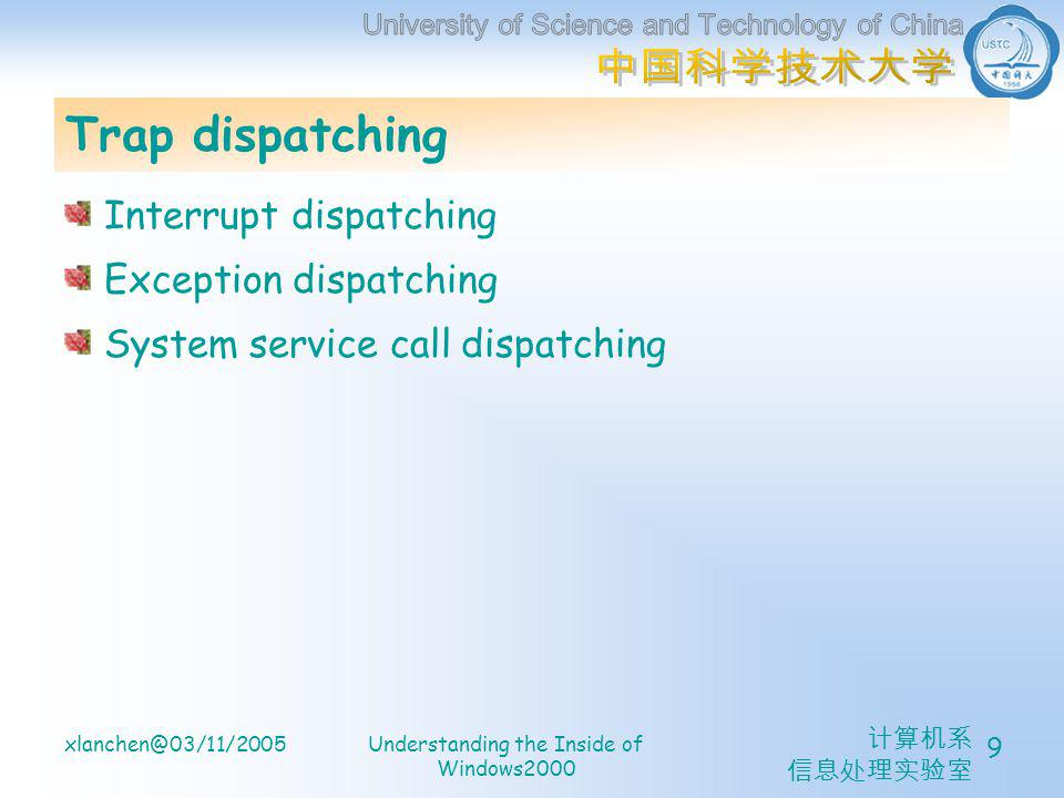 计算机系 信息处理实验室 xlanchen@03/11/2005Understanding the Inside of Windows2000 10 Interrupt Dispatching I/O control methods.