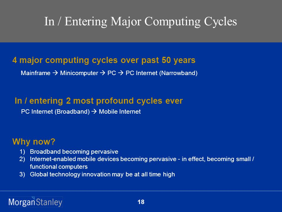 18 In / Entering Major Computing Cycles 4 major computing cycles over past 50 years In / entering 2 most profound cycles ever Why now.