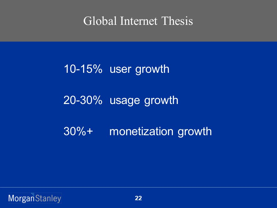 22 Global Internet Thesis 10-15% user growth 20-30% usage growth 30%+ monetization growth