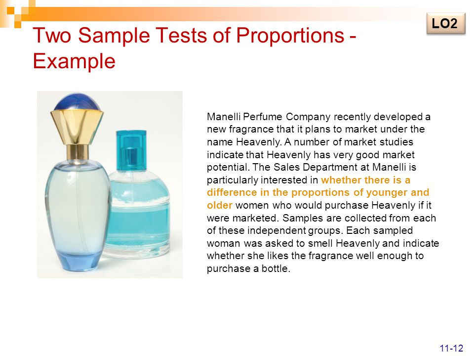Two Sample Tests of Proportions - Example Manelli Perfume Company recently developed a new fragrance that it plans to market under the name Heavenly.