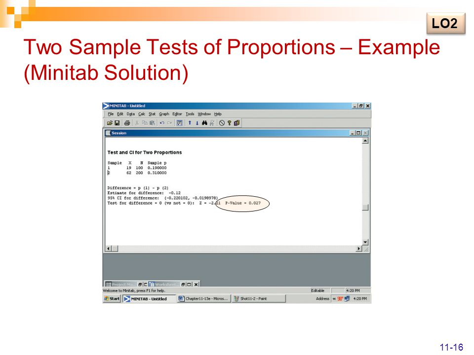Two Sample Tests of Proportions – Example (Minitab Solution) LO2 11-16