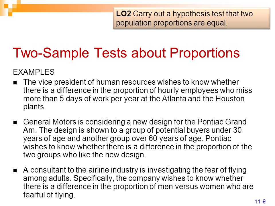 Two-Sample Tests about Proportions EXAMPLES The vice president of human resources wishes to know whether there is a difference in the proportion of hourly employees who miss more than 5 days of work per year at the Atlanta and the Houston plants.