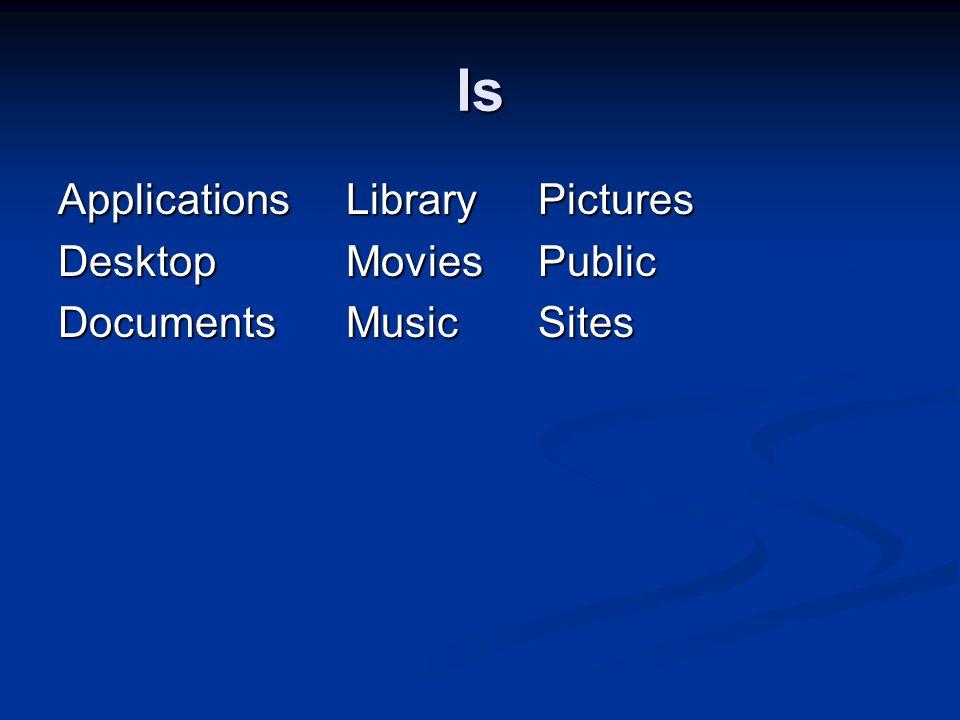 ls ApplicationsLibraryPictures DesktopMoviesPublic DocumentsMusicSites
