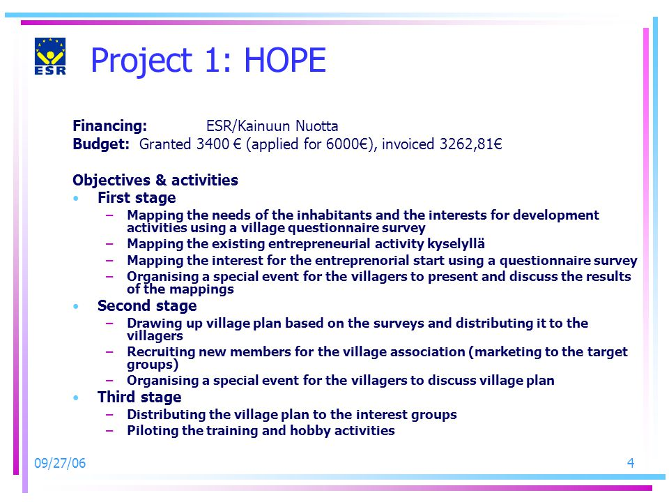 09/27/064 Project 1: HOPE Financing:ESR/Kainuun Nuotta Budget: Granted 3400 € (applied for 6000€), invoiced 3262,81€ Objectives & activities First sta