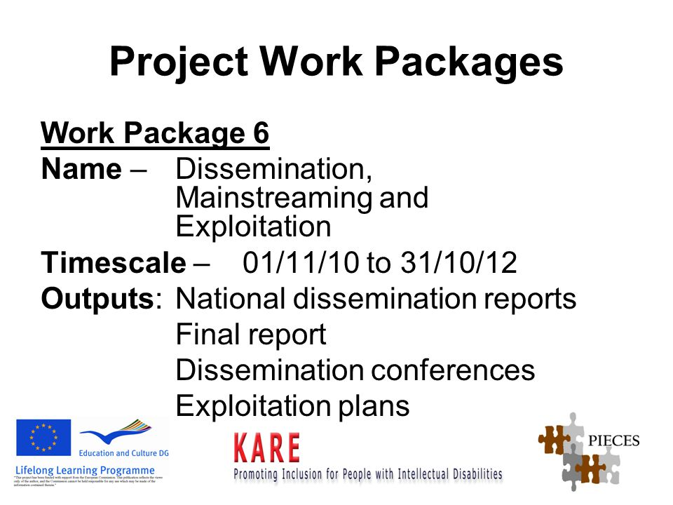 Project Work Packages Work Package 6 Name – Dissemination, Mainstreaming and Exploitation Timescale – 01/11/10 to 31/10/12 Outputs:National dissemination reports Final report Dissemination conferences Exploitation plans
