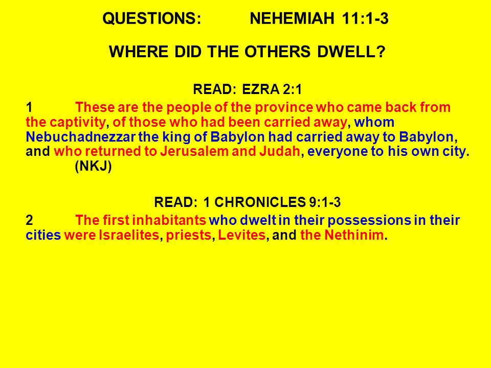 QUESTIONS:NEHEMIAH 11:1-3 WHERE DID THE OTHERS DWELL.