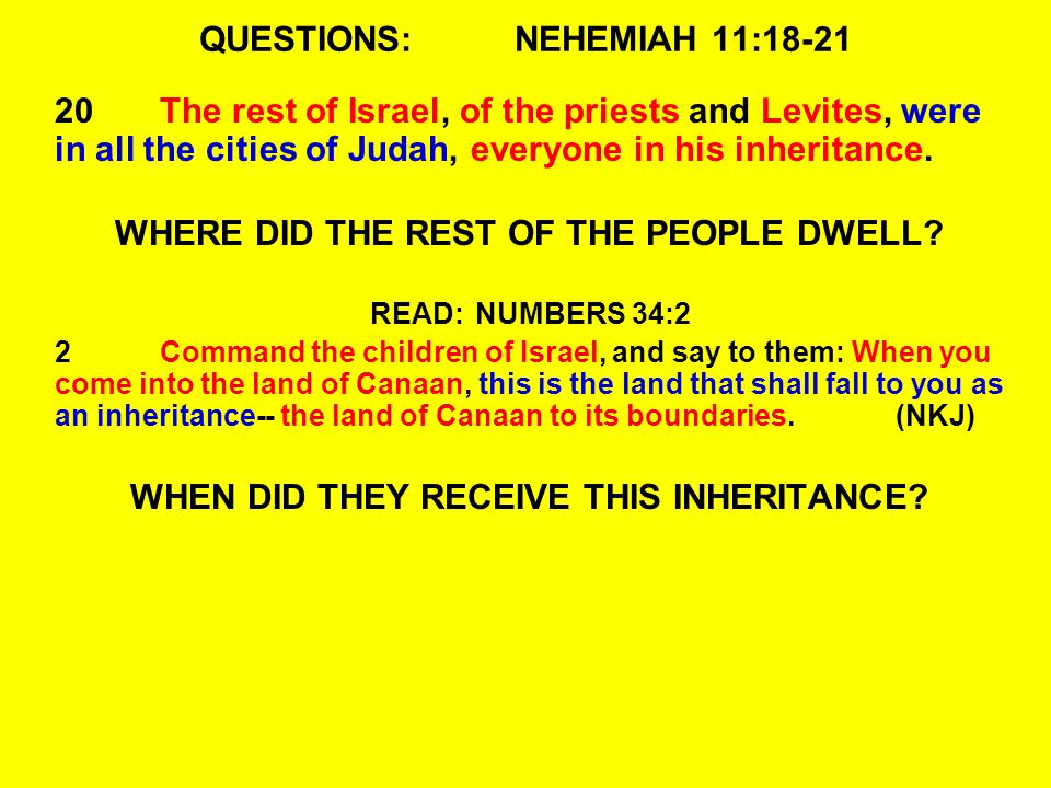 QUESTIONS:NEHEMIAH 11:18-21 20The rest of Israel, of the priests and Levites, were in all the cities of Judah, everyone in his inheritance.