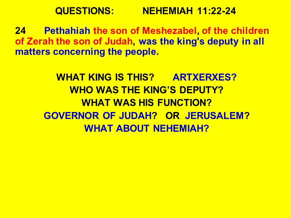 QUESTIONS:NEHEMIAH 11:22-24 24Pethahiah the son of Meshezabel, of the children of Zerah the son of Judah, was the king s deputy in all matters concerning the people.