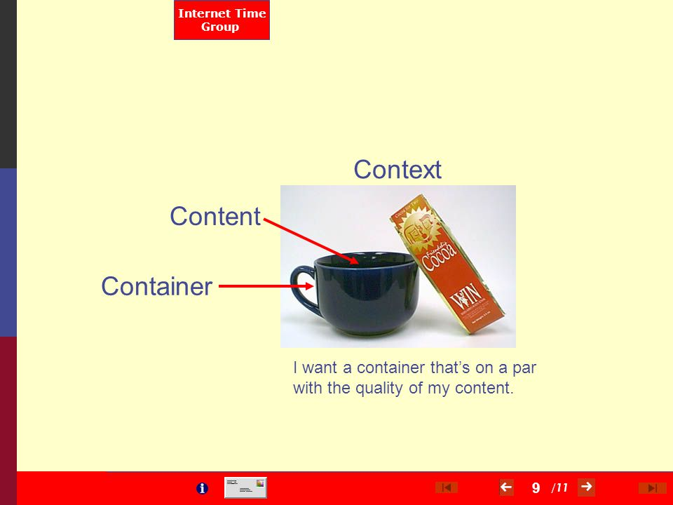 / 11 Internet Time Group 9 Context Content I want a container that's on a par with the quality of my content. Container