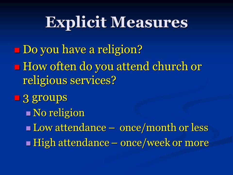 Explicit Measures Do you have a religion. Do you have a religion.