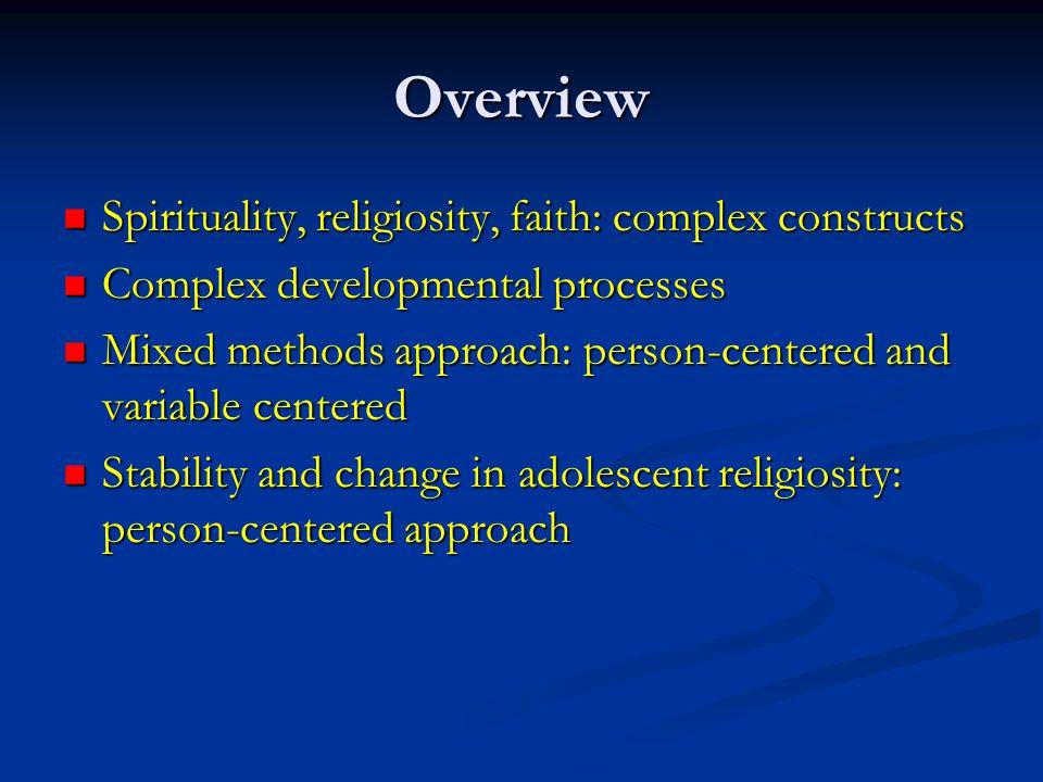 Overview Spirituality, religiosity, faith: complex constructs Spirituality, religiosity, faith: complex constructs Complex developmental processes Com