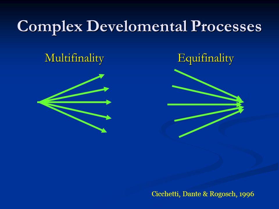 Complex Develomental Processes Multifinality Equifinality Multifinality Equifinality Cicchetti, Dante & Rogosch, 1996