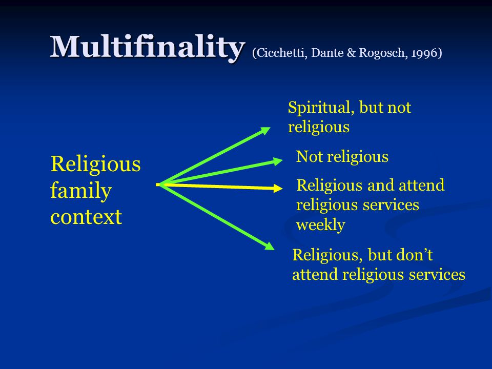 Multifinality ( Multifinality (Cicchetti, Dante & Rogosch, 1996) Religious family context Not religious Religious, but don't attend religious services