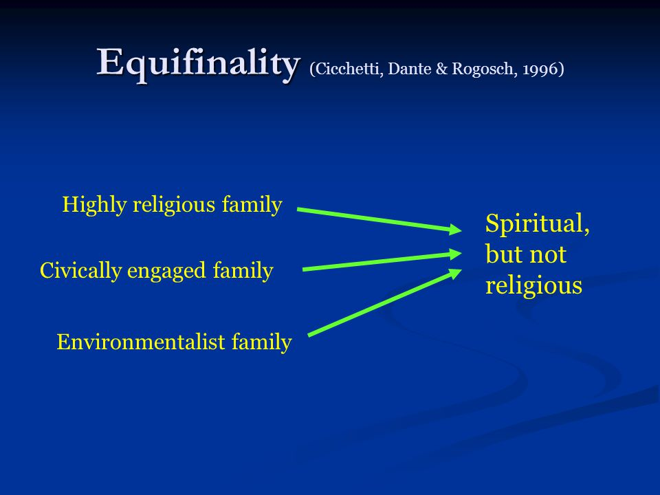 Equifinality ( Equifinality (Cicchetti, Dante & Rogosch, 1996) Spiritual, but not religious Highly religious family Civically engaged family Environme