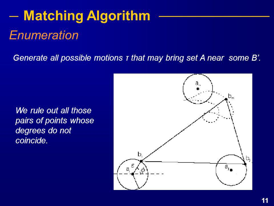 11 Matching Algorithm Generate all possible motions τ that may bring set A near some B'. Enumeration We rule out all those pairs of points whose degre