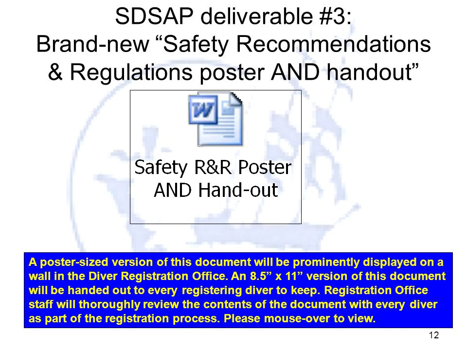 """12 SDSAP deliverable #3: Brand-new """"Safety Recommendations & Regulations poster AND handout"""" A poster-sized version of this document will be prominent"""