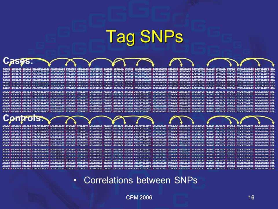 CPM 200616 Correlations between SNPs Tag SNPs AGAGCAGTCGACAGGTATAGCCTACATGAGATCGACATGAGATCGGTAGAGCCGTGAGATCGACATGATAGCCAGAGCCGTCGACATGTATAGTCTACATGAGA