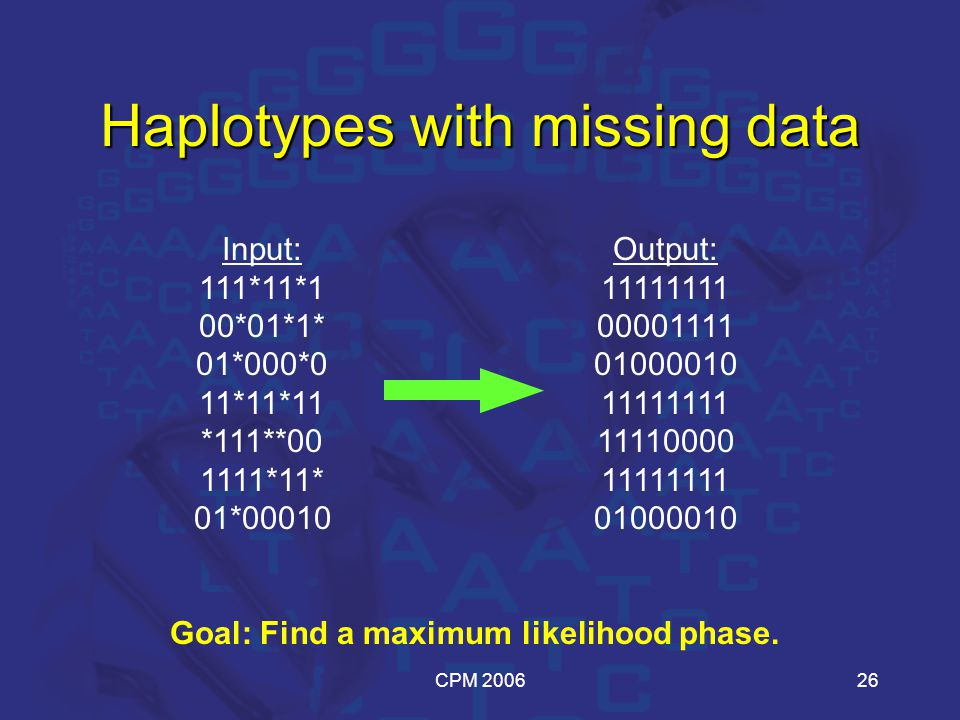 CPM 200626 Haplotypes with missing data Input: 111*11*1 00*01*1* 01*000*0 11*11*11 *111**00 1111*11* 01*00010 Goal: Find a maximum likelihood phase.