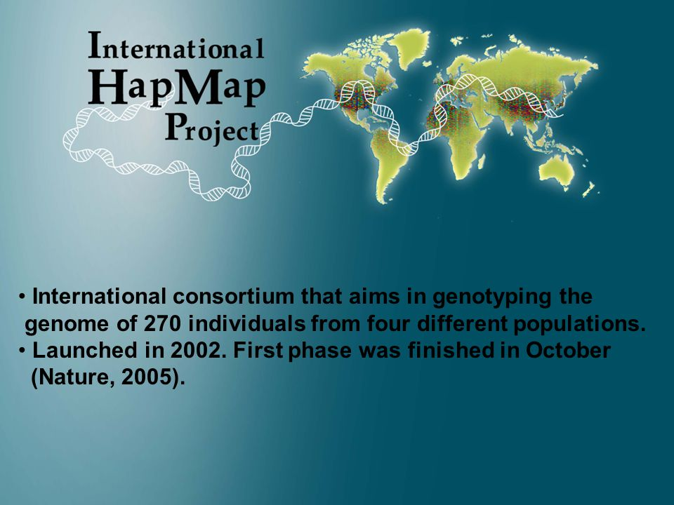 CPM 20065 International consortium that aims in genotyping the genome of 270 individuals from four different populations.