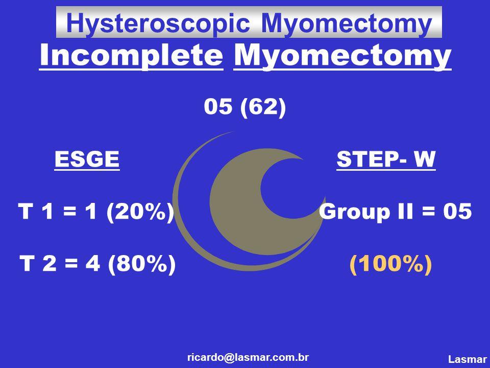 Incomplete Myomectomy 05 (62) ESGE STEP- W T 1 = 1 (20%) Group II = 05 T 2 = 4 (80%) (100%) ricardo@lasmar.com.br Hysteroscopic Myomectomy Lasmar ricardo@lasmar.com.br