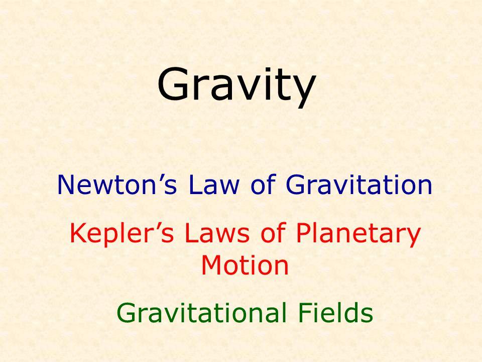 Gravity Newton's Law of Gravitation Kepler's Laws of Planetary Motion Gravitational Fields