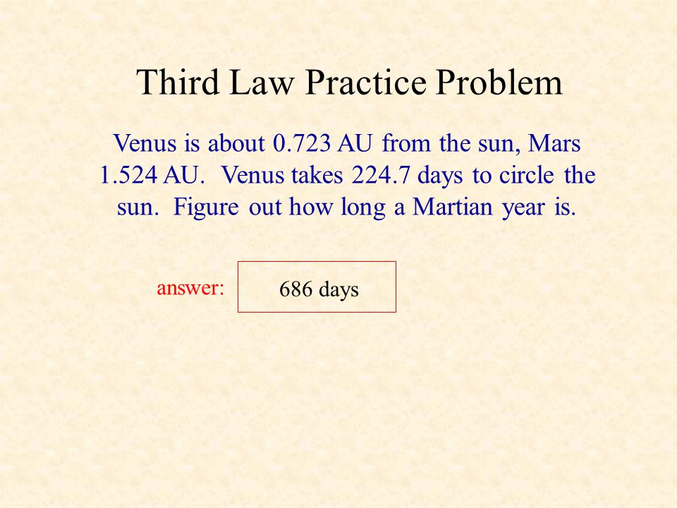 1 year 365 days Third Law Example (cont.) What is Jupiter's orbital speed? answer: Since it's orbital is approximately circular, and it's speed is app