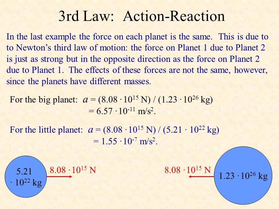 3rd Law: Action-Reaction In the last example the force on each planet is the same.