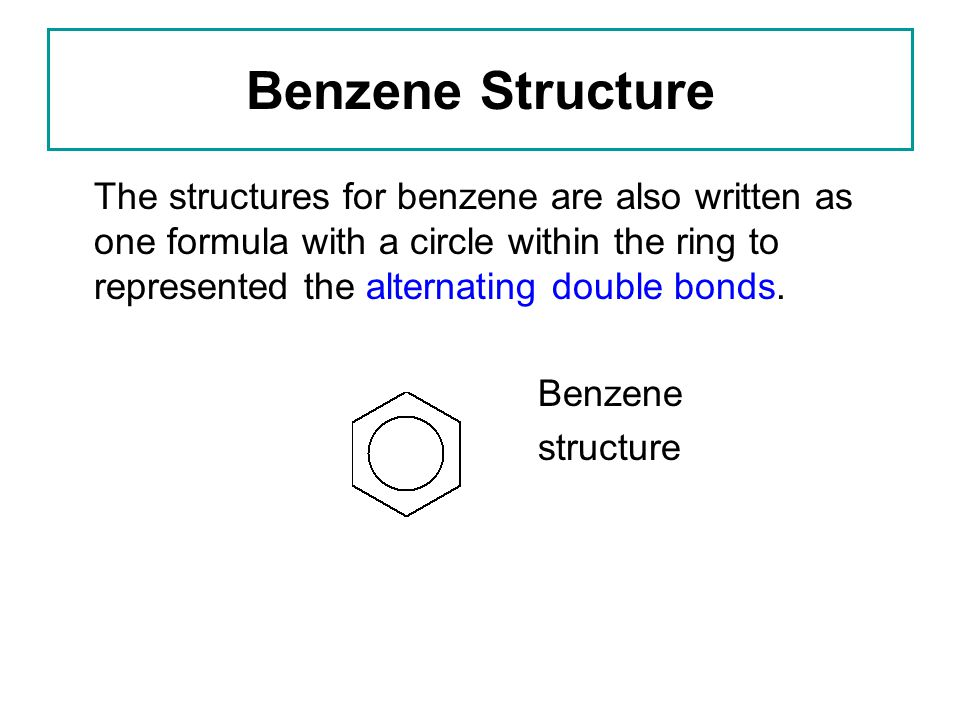 Benzene Structure The structures for benzene are also written as one formula with a circle within the ring to represented the alternating double bonds.
