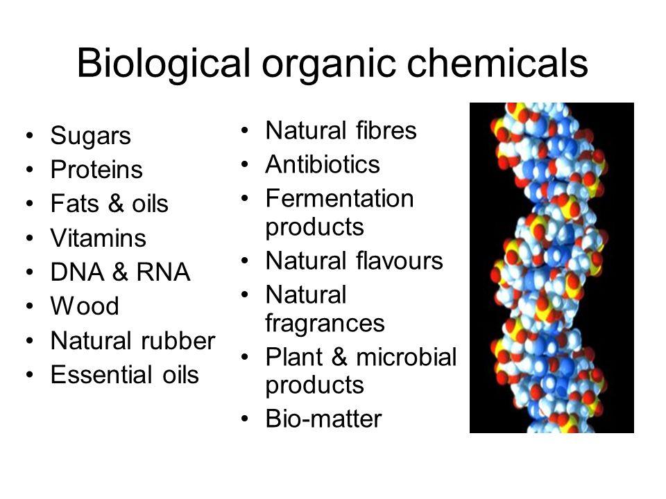 Biological organic chemicals Sugars Proteins Fats & oils Vitamins DNA & RNA Wood Natural rubber Essential oils Natural fibres Antibiotics Fermentation