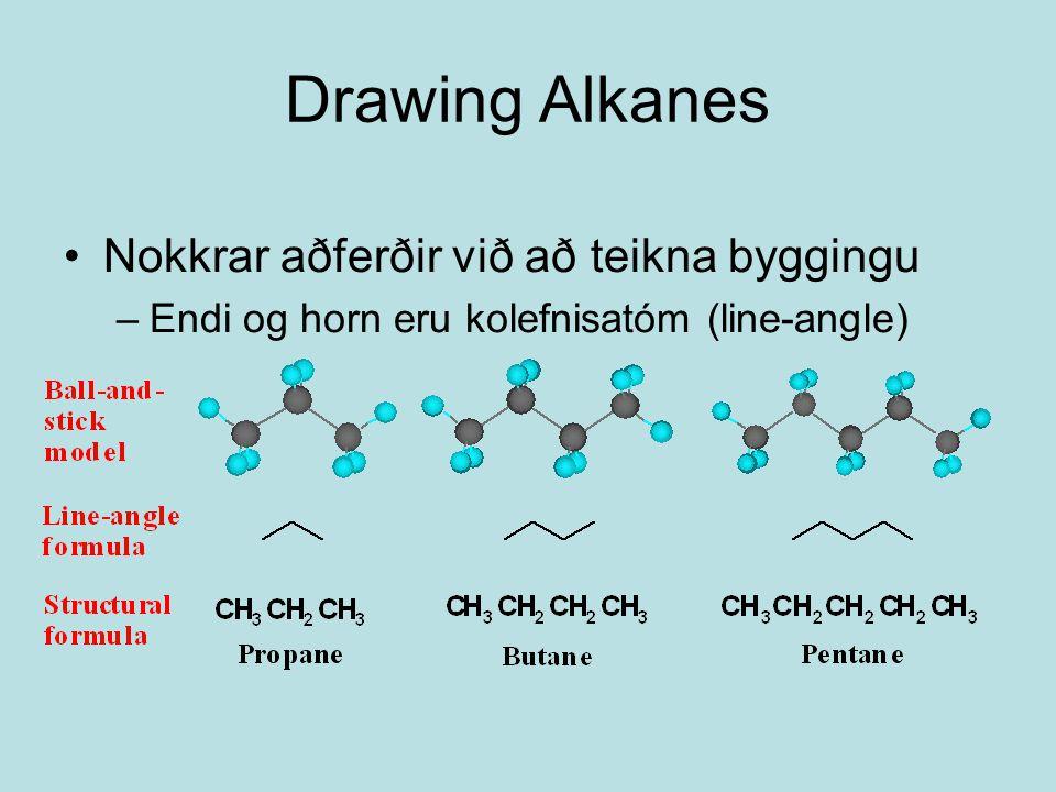 Drawing Alkanes Nokkrar aðferðir við að teikna byggingu –Endi og horn eru kolefnisatóm (line-angle)