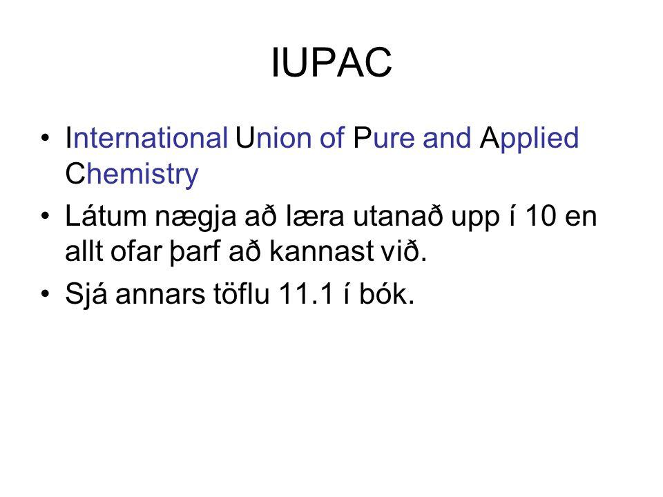 IUPAC International Union of Pure and Applied Chemistry Látum nægja að læra utanað upp í 10 en allt ofar þarf að kannast við.