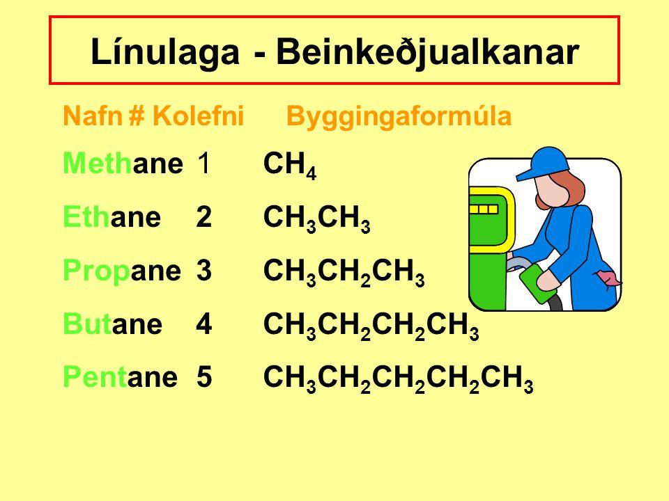 Línulaga - Beinkeðjualkanar Nafn# Kolefni Byggingaformúla Methane1CH 4 Ethane2CH 3 CH 3 Propane3CH 3 CH 2 CH 3 Butane4CH 3 CH 2 CH 2 CH 3 Pentane5CH 3 CH 2 CH 2 CH 2 CH 3